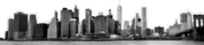 Manhattan skyline Wide panorama East-river view halftone vector illustration stock illustration
