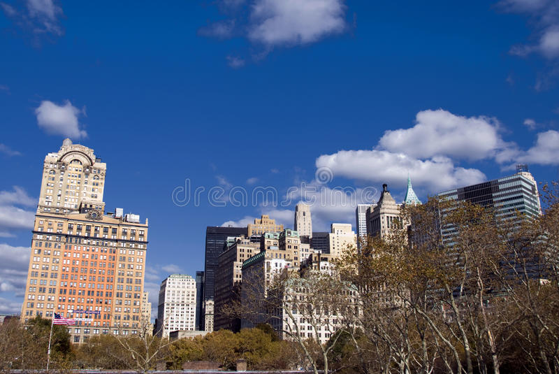 Manhattan skyscrapers from Central Park royalty free stock photo
