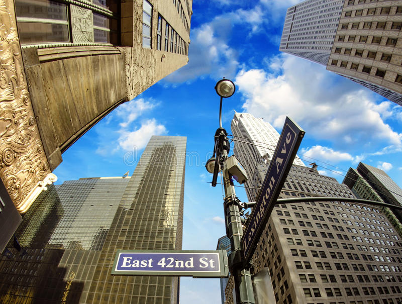 Manhattan Skyscrapers and Street Signs. New York City - Manhattan Skyscrapers and Street Signs, U.S.A royalty free stock photography