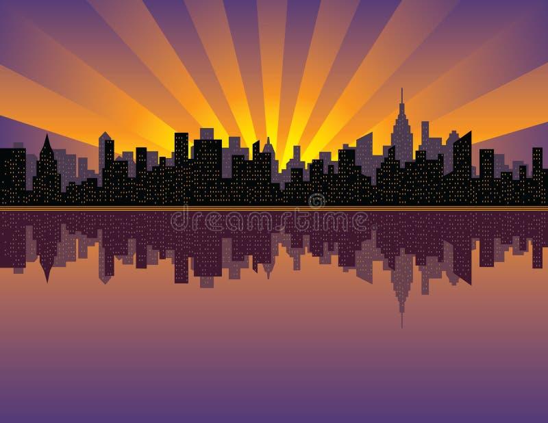 manhattan solnedgång royaltyfri illustrationer
