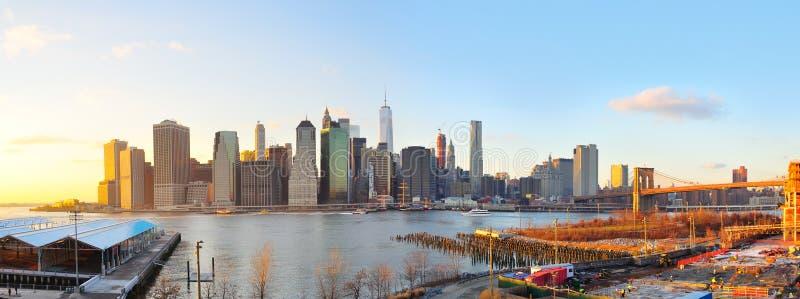 Manhattan-Sonnenuntergangpanorama, New York City lizenzfreie stockfotografie