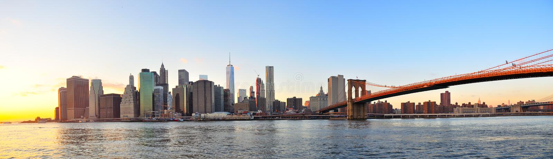 Manhattan-Sonnenuntergangpanorama, New York City stockbilder