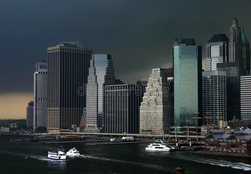 Download Manhattan storm stock image. Image of harbor, broadway - 640689