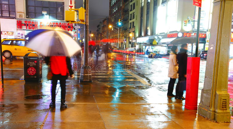 Manhattan street by night royalty free stock image