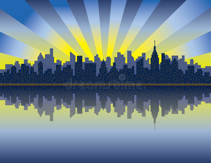 Download Manhattan Sunrise stock vector. Image of outdoors, cityscape - 5836405