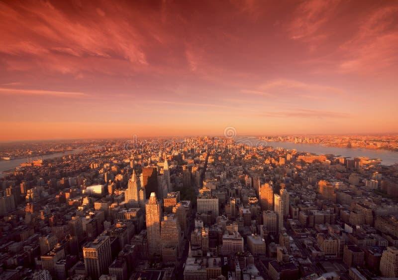 Manhattan Sunrise In New York stock photos