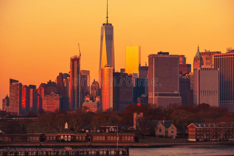 Manhattan Sunset NYC royalty free stock photography