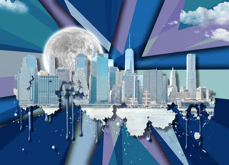 Manhattan und Brooklyn-Brücke vektor abbildung