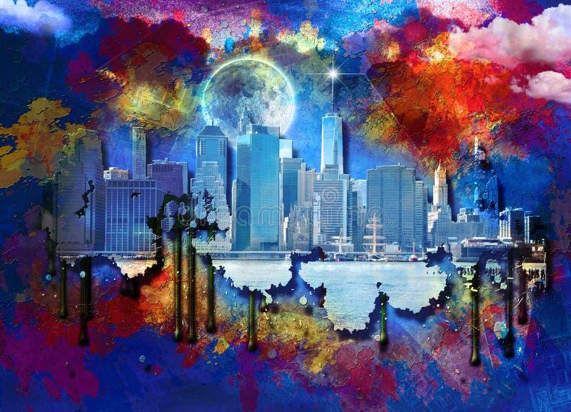 Manhattan und Brooklyn-Brücke lizenzfreie abbildung