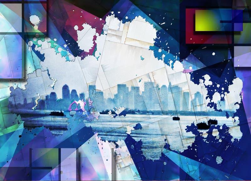 Manhattan und Brooklyn-Br?cke vektor abbildung