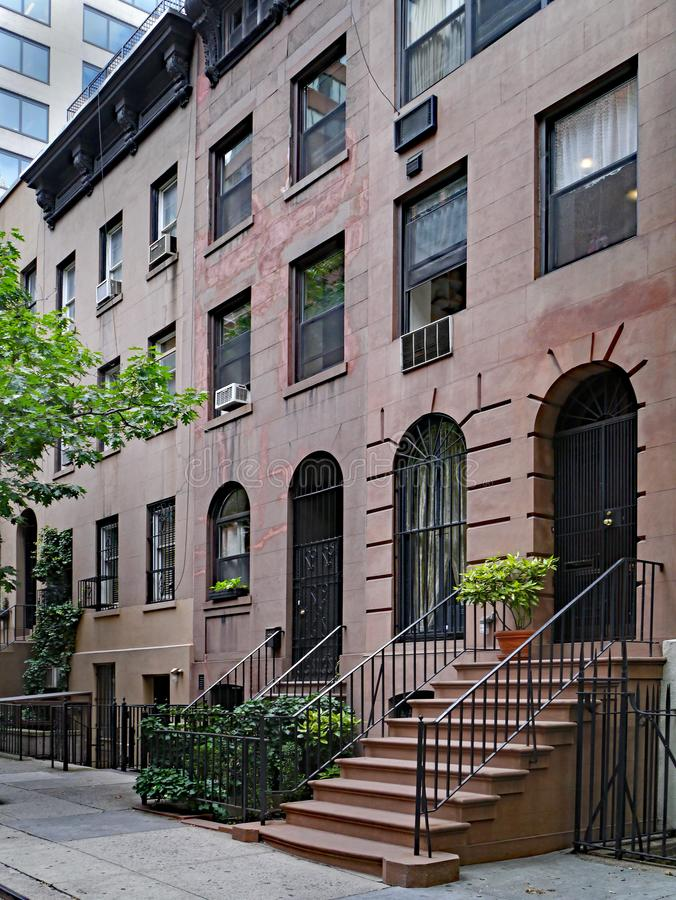 Manhattan upper west side, townhouse. On quiet east-west street royalty free stock images