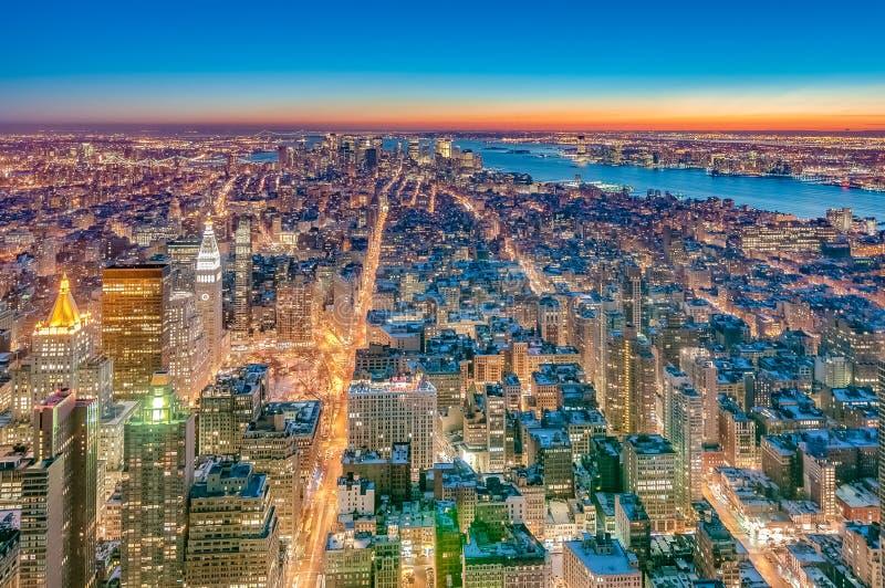 Manhattan van de binnenstad in New York, Verenigde Staten royalty-vrije stock foto's