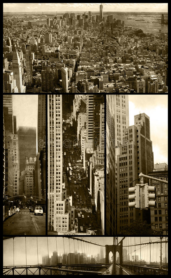 Manhattan views on grunge. Five views of Manhattan in sepia color and low grunge background to give them a nostalgic aspect royalty free stock images