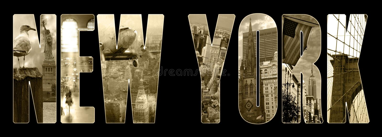 Manhattan views on New York. Seven views of Manhattan in sepia color and low grunge background on the text of New York stock photo