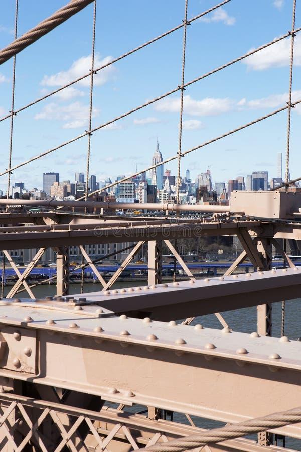 Manhattan viu da ponte de Brooklyn imagens de stock royalty free