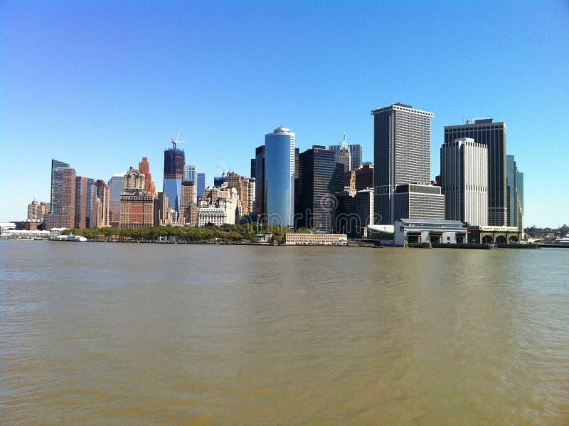 Manhattan von der Staten Island-Fähre stockfoto