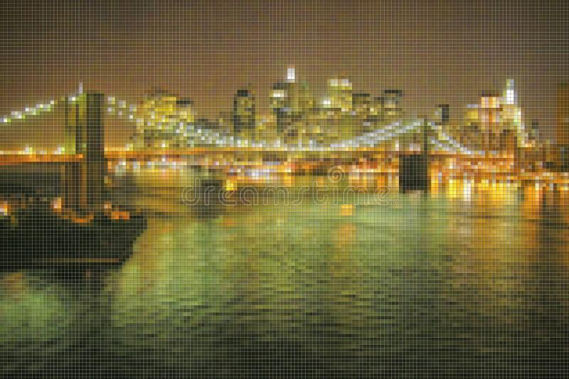 Manhattan waterfront with Brooklyn Bridge at night - New York City USA - Concept image with pixelation effect.  royalty free stock images