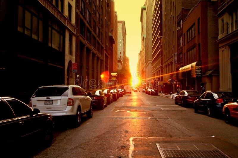 Manhattanhenge photographie stock libre de droits