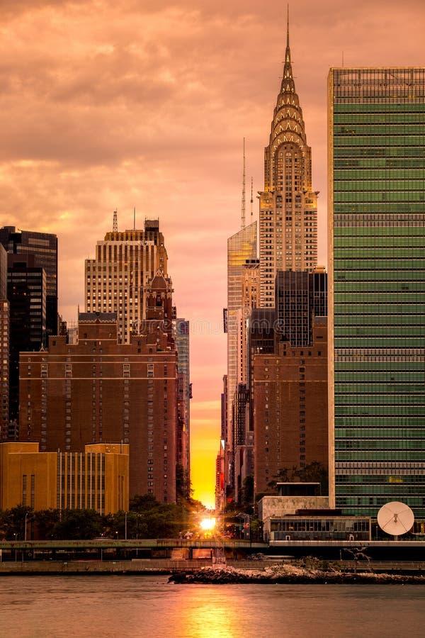 Manhattanhenge en NYC imagen de archivo
