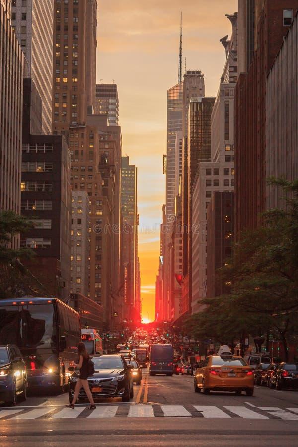 Manhattanhenge 2015 - New York City fotos de archivo