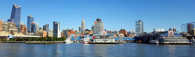 Manhetan Nueva York los E.E.U.U. el río Hudson imagen de archivo