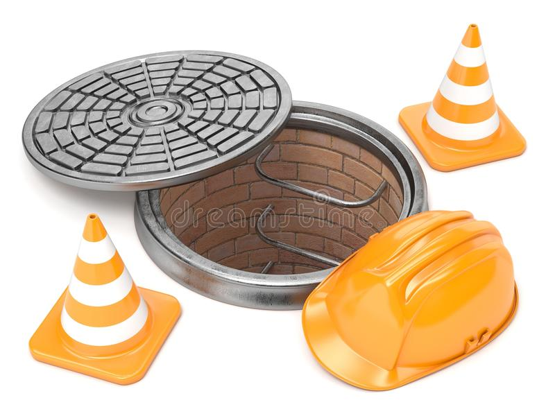 Manhole, traffic cones and safety helmet. 3D. Render illustration isolated on white background royalty free illustration