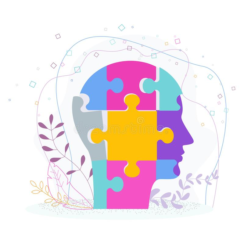 Manhuvud som utgöras av pusselstycken Mänskligt profilbegrepp royaltyfri illustrationer