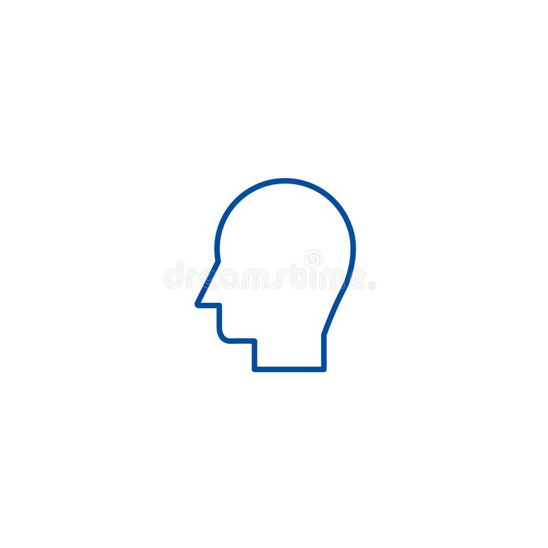Manhuvudlinje symbolsbegrepp Symbol för vektor för manhuvud plant, tecken, översiktsillustration stock illustrationer