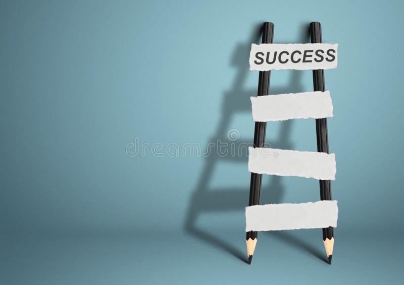 Manière au concept de succès, échelle de crayon avec les escaliers vides, PS de copie images libres de droits