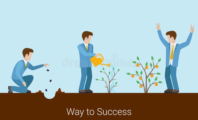 Manière au vecteur 3d plat de jeune entreprise d'investissement de succès illustration stock