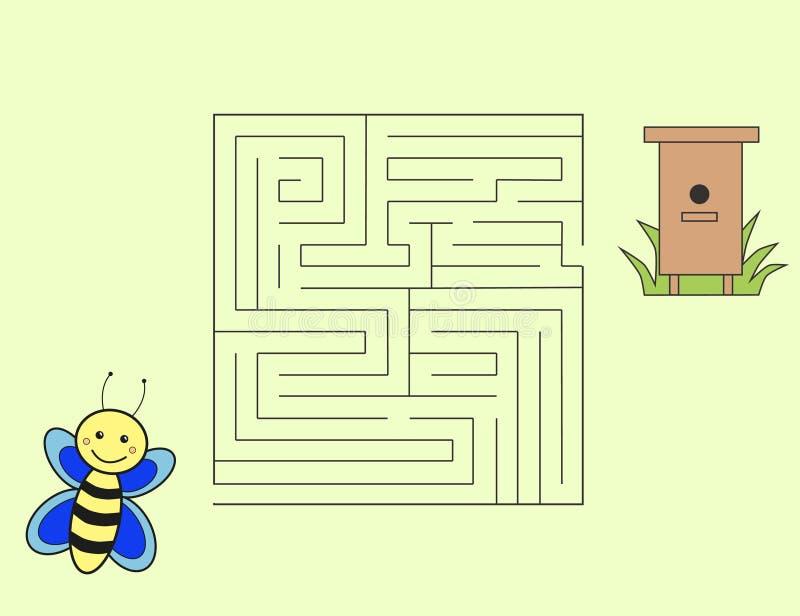 Manière d'abeille de bande dessinée d'autoguider le puzzle photographie stock libre de droits