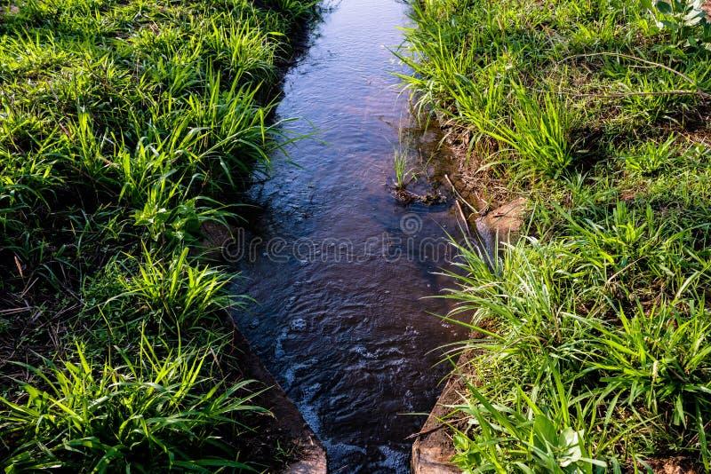 Mani?re d'irrigation pour la terre agricole photographie stock