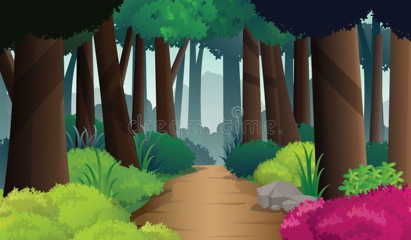 Manière de chemin sur la forêt dense, illustration de vecteur illustration libre de droits