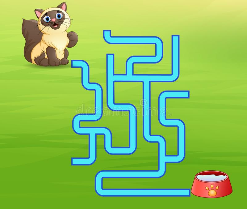 Manière de découverte de labyrinthe de chats de jeu au lait illustration stock