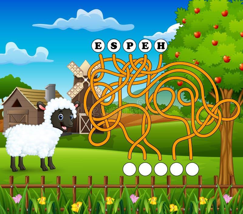 Manière de découverte de labyrinthe de moutons de jeu au mot illustration de vecteur