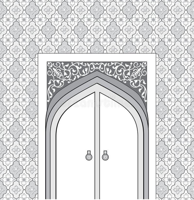 Manière de porte dans le style architectural arabe Mosquée islamique d de conception illustration libre de droits