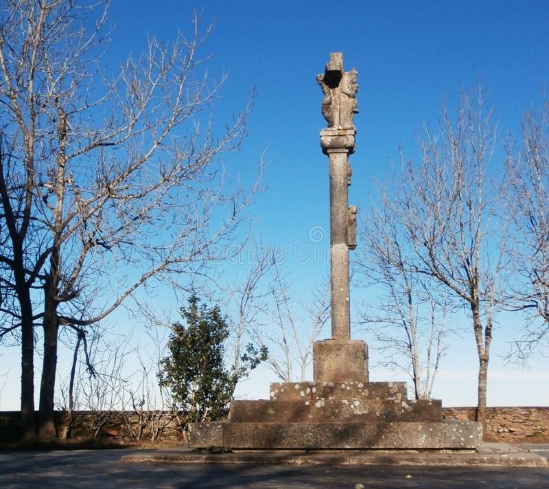 Manière de St James Camino de Santiago entrant en Galicie, en O Cebreiro photos libres de droits