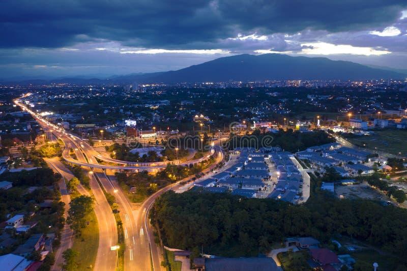 Manière exprès de vue aérienne dans Chiangmai, Thaïlande image stock