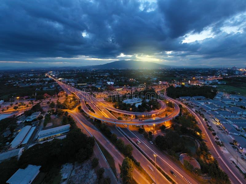 Manière exprès de vue aérienne dans Chiangmai, Thaïlande image libre de droits