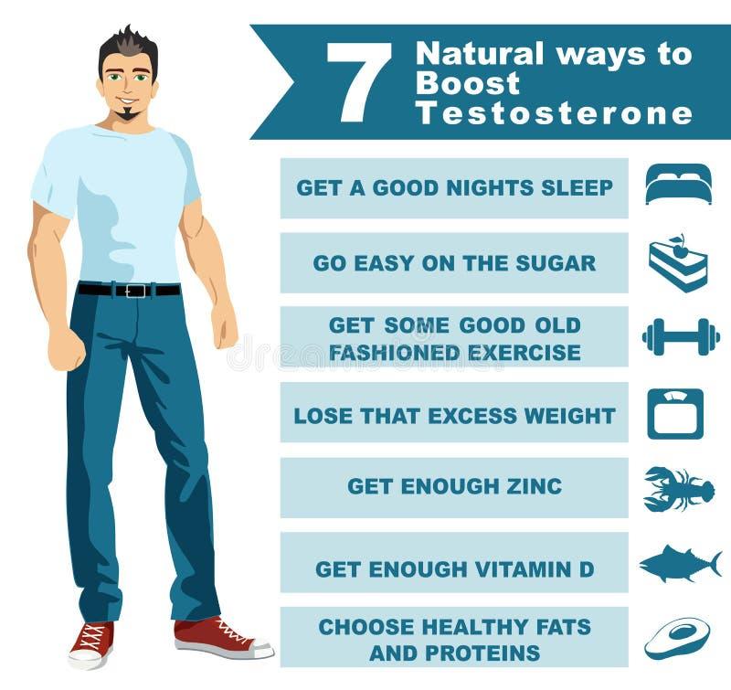 7 manières naturelles amplifier la testostérone Populaire scientifique d'Infographics image stock