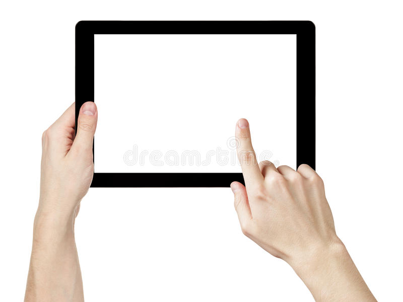 Mani adulte dell'uomo facendo uso del pc generico della compressa con lo schermo bianco immagine stock libera da diritti