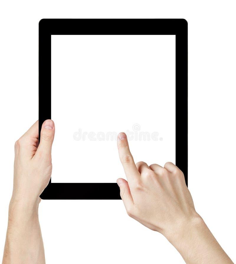 Mani adulte dell'uomo facendo uso del pc generico della compressa con lo schermo bianco fotografie stock