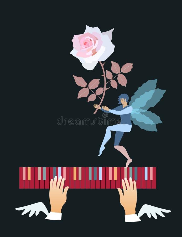 Mani alate sopra delle le chiavi colorate multi del piano ed elfo ballante con le ali trasparenti e una bella rosa rosa in mani illustrazione di stock