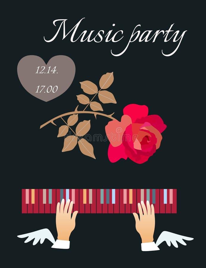 Mani alate sulla tastiera di piano e sulla rosa rossa di caduta isolate su fondo nero nel vettore royalty illustrazione gratis