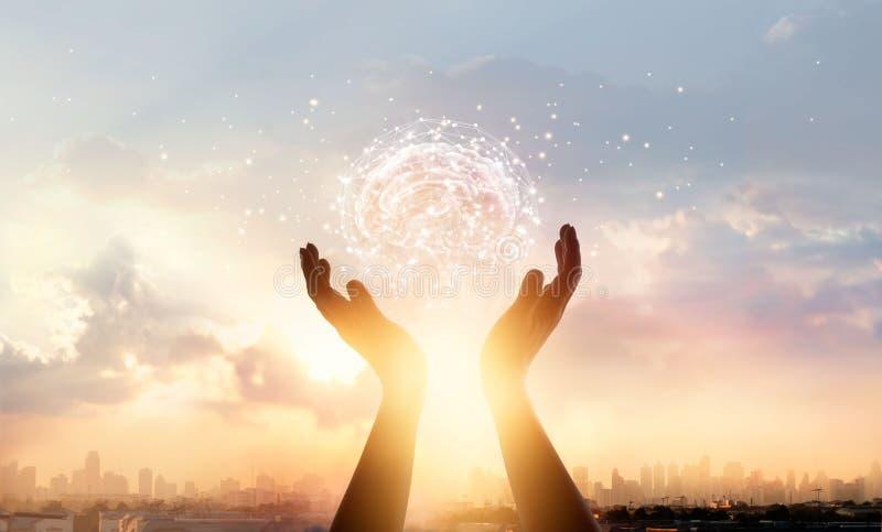 Mani astratte della palma che toccano cervello con connessione di rete fotografie stock libere da diritti