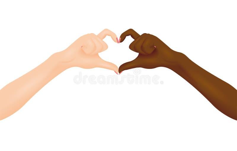 Mani in bianco e nero che fanno forma del cuore Illustrazione di vettore illustrazione di stock