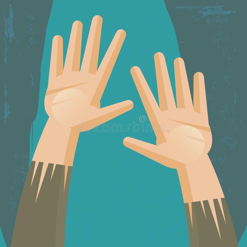 Mani che chiedono l'aiuto illustrazione di stock