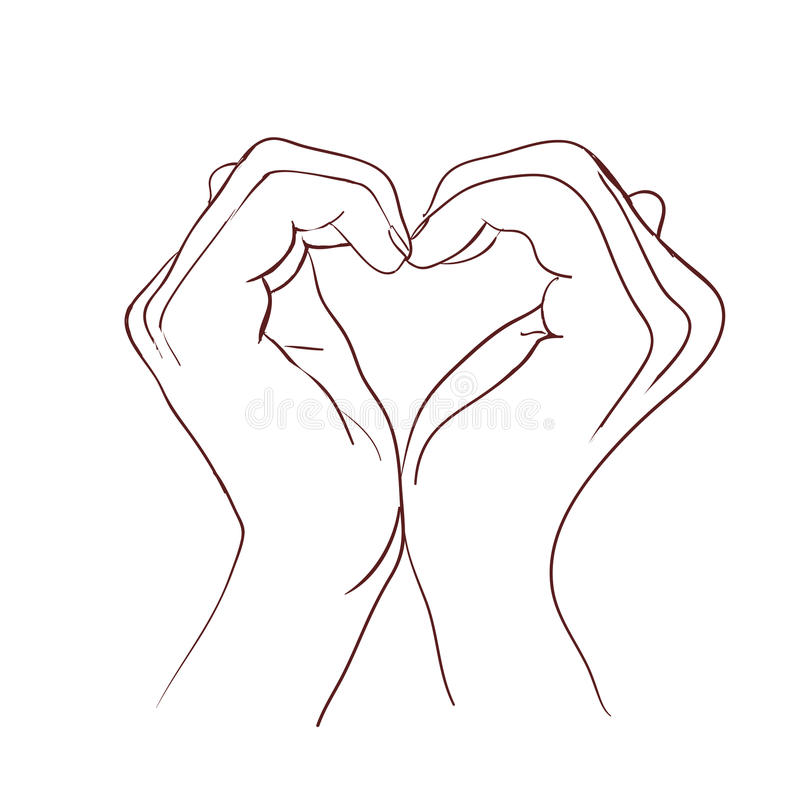 Mani che fanno il cuore del segno Illustrazione di vettore fotografie stock libere da diritti