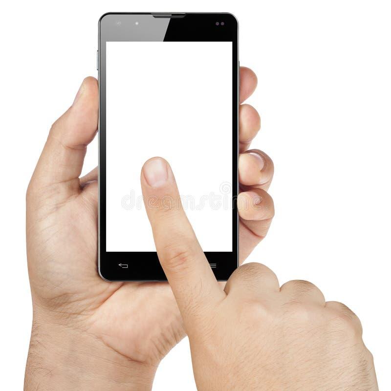 Mani che funzionano lo schermo in bianco Isolat di Smartphone di tocco fotografia stock libera da diritti