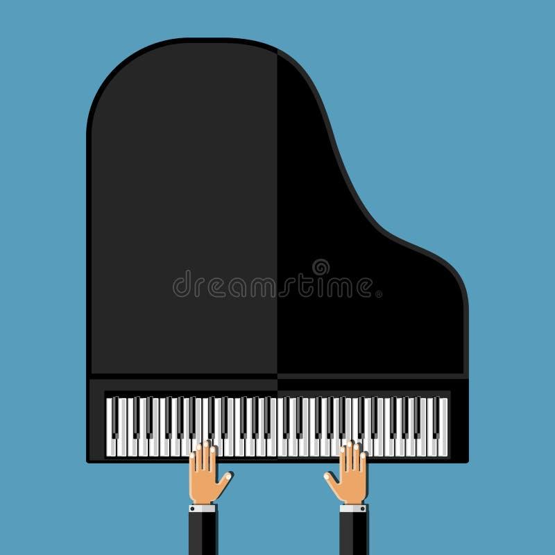 Mani che giocano il pianoforte a coda Progettazione piana illustrazione di stock